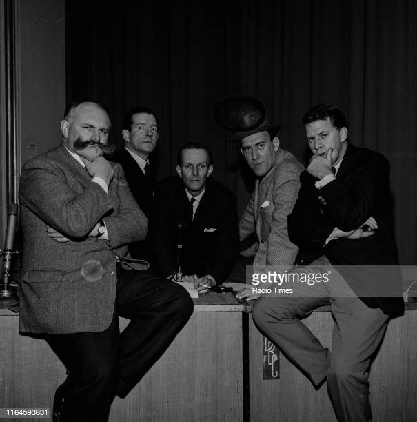 Comedians Jimmy Edwards, Ted Ray, McDonald Hobley, Tommy Trinder and Bernard Braden during a recording for the BBC Radio 4 comedy series 'Does the...