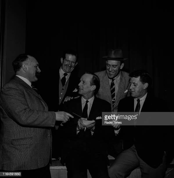 Comedians Jimmy Edwards, Ted Ray, Tommy Trinder, Bernard Braden and McDonald Hobley during a recording for the BBC Radio 4 comedy series 'Does the...