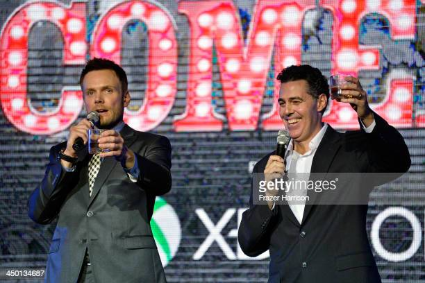 Comedians Joel McHale and Adam Carolla speak onstage during Variety's 4th Annual Power of Comedy presented by Xbox One benefiting the Noreen Fraser...
