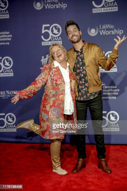 Comedians John Crist and Chonda Pierce on the red carpet for the 50th Annual GMA Dove Awards at Allen Arena Lipscomb University on October 15 2019 in...