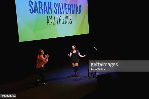 Comedians John Early and Sarah Silverman perform onstage during Vulture Festival presents Sarah Silverman Friends at BAM on May 22 2016 in New York...