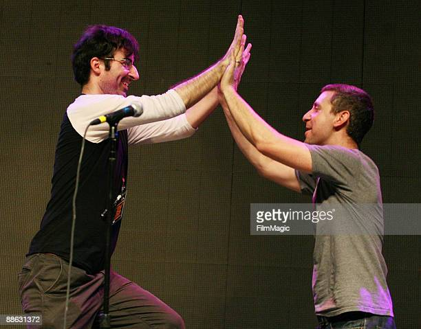 Comedians John Oliver and Rory Albanese perform in the comedy carnivale during Bonnaroo 2009 on June 13 2009 in Manchester Tennessee