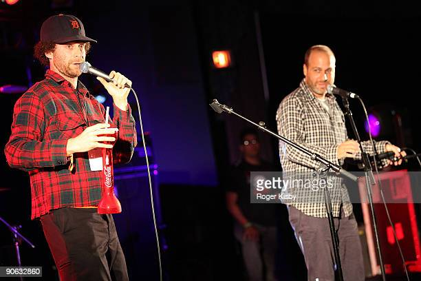 Comedians Jon Benjamin and Jon Glaser perform onstage at the ATP New York 2009 festival at the Kutsher's Country Club on September 11, 2009 in...