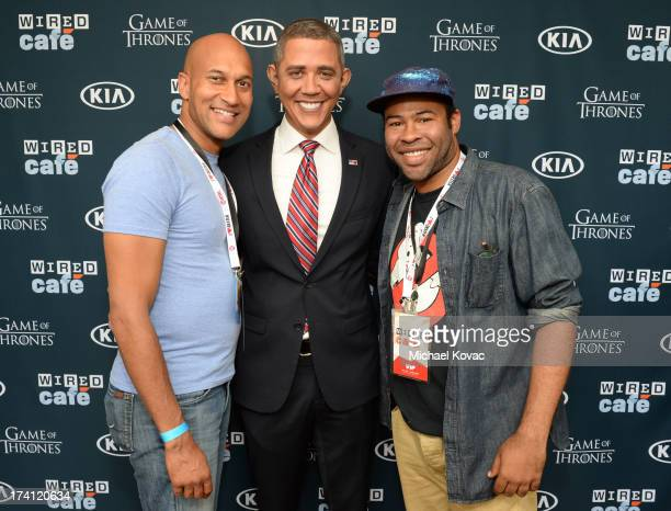 Comedians Jordan Peele , impersonator Reggie Brown and Keegan Michael Key attend day 3 of the WIRED Cafe at Comic-Con on July 20, 2013 in San Diego,...