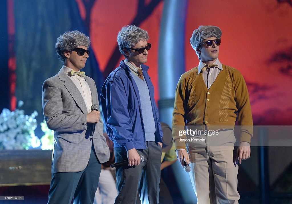 Comedians Jorma Taccone, Akiva Schaffer and Andy Samberg of The Lonely Island perform onstage during Spike TV's Guys Choice 2013 at Sony Pictures Studios on June 8, 2013 in Culver City, California.
