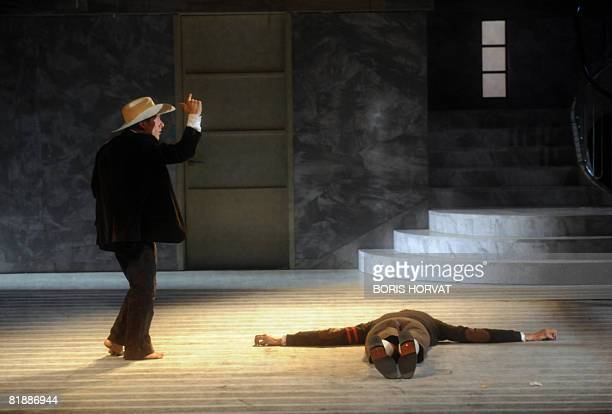 "Comedians Juri Roverato and Davide Savorani perform in Romeo Castellucci's play ""Purgatorio"", based on Dante's Divine Comedy, on July 9, 2008 in..."