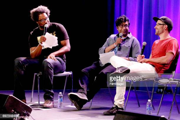 Comedians Kamau Bell and Hari Kondabolu and journalist Shane Bauer speak onstage at the Larkin Comedy Club during Colossal Clusterfest at Civic...