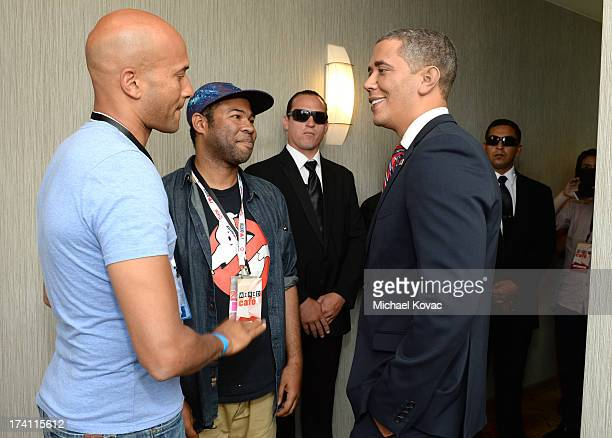 Comedians Keegan Michael Key, Jordan Peele and impersonator Reggie Brown attend day 3 of the WIRED Cafe at Comic-Con on July 20, 2013 in San Diego,...