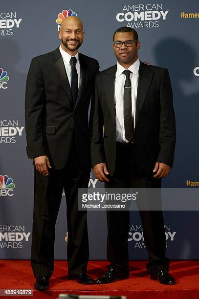 Comedians Keegan-Michael Key and Jordan Peele address the Press Room during the 2014 American Comedy Awards at Hammerstein Ballroom on April 26, 2014...