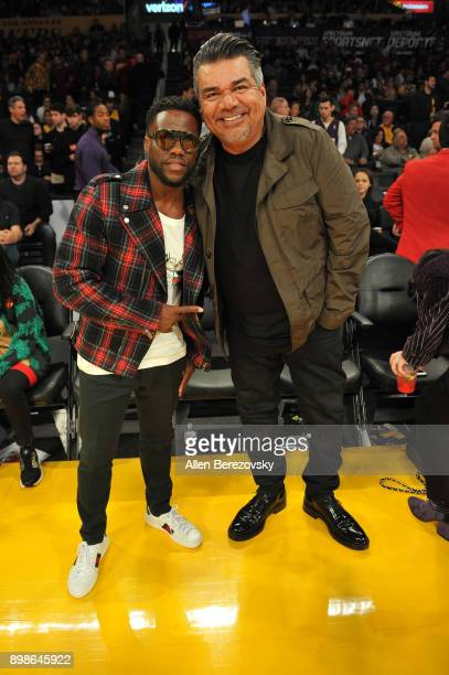 Comedians Kevin Hart and George Lopez attend a basketball game between the Los Angeles Lakers and the Minnesota Timberwolves at Staples Center on...