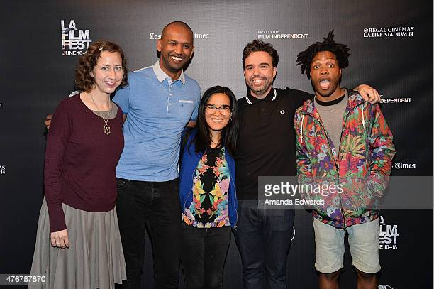 Comedians Kristen Schaal Solomon Georgio Ali Wong Chris Garcia and Jermaine Fowler pose at Funny or Die Make'em LAFF and unofficial after party...