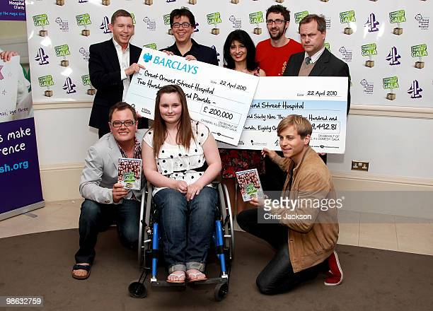 Comedians Lee Evans, Michael Mcintyre, Shappi Khorsandi, Mark Watson, Jack Dee Alan Carr and Kevin Bishop pose at a photocall for the Great Ormond...