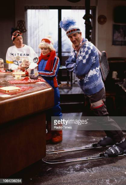 Comedians Les Dennis and Russ Abbot in a ski sketch from the BBC Television series 'The Russ Abbot Show' March 7th 1986