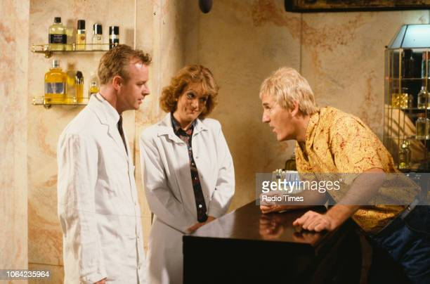 Comedians Les Dennis Sherie Hewson and Russ Abbot in a sketch from the BBC Television series 'The Russ Abbot Show' March 31st 1991