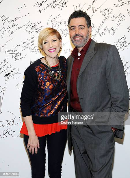 Comedians Lisa Lampanelli and Adam Carolla attend the AOL BUILD Speaker Series to discuss their film 'Road Hard' at AOL Studios on March 5 2015 in...