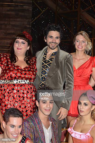 Comedians Lola Ces Vincent Heden Aurore Delplace and Alexandre Faitrouni perform during the 'Love Circus' Press Preview At the Folies Bergeres on...