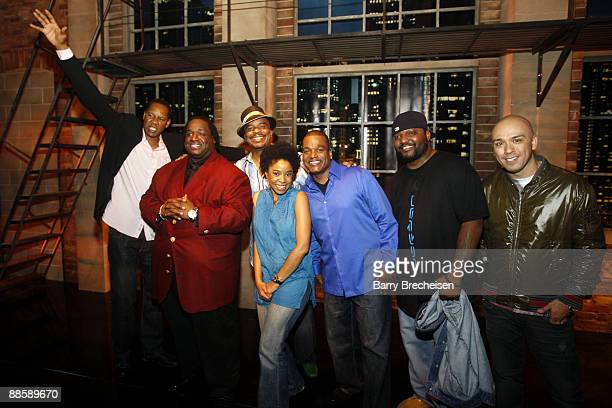 Comedians Mark Curry Bruce Bruce David Alan Grier Marina Franklin Ralph Harris Aries Spears and Jo Koy pose on stage at the Comedy You Can Believe in...