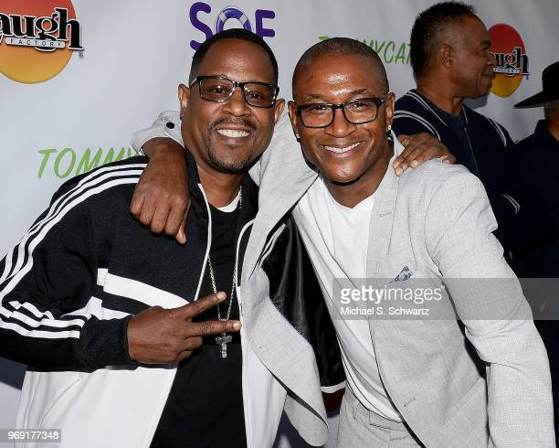 Comedians Martin Lawrence and Tommy Davidson attend the SarcomaOma Foundation Comedy Benefit at The Laugh Factory on June 6 2018 in West Hollywood...