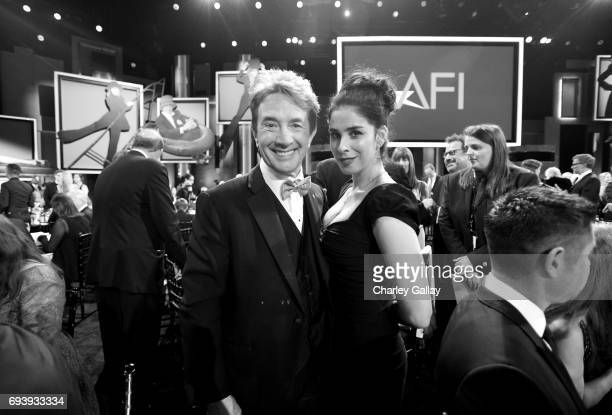 Comedians Martin Short and Sarah Silverman onstage during American Film Institute's 45th Life Achievement Award Gala Tribute to Diane Keaton at Dolby...