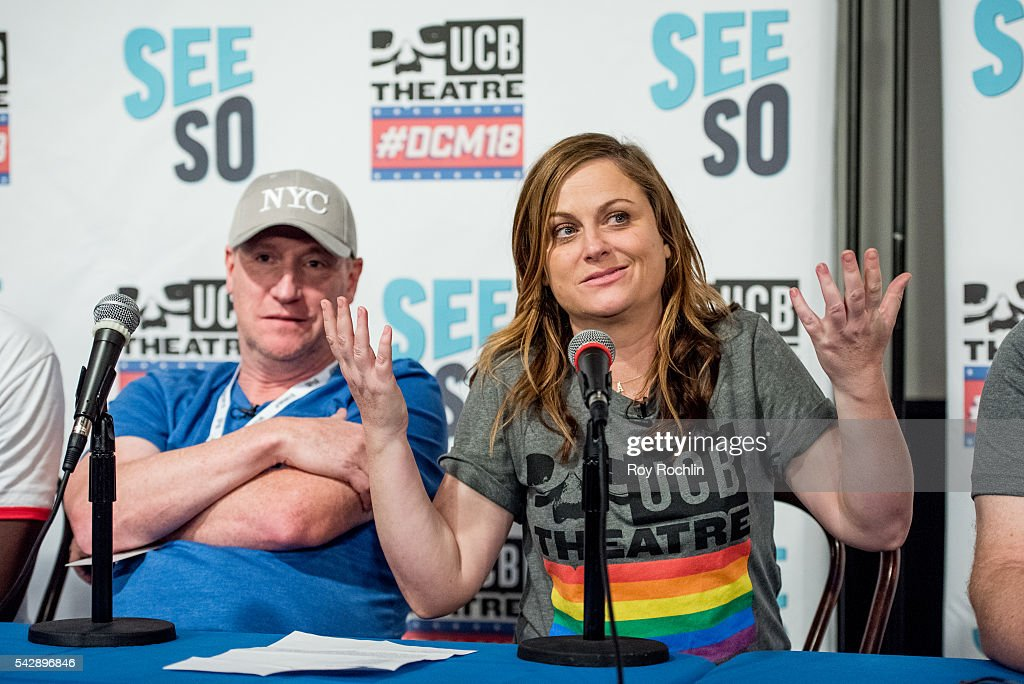 Comedians Matt Walsh and Amy Poehler attend the 18th Annual Del Close Improv Comedy Marathon Press Conference at Upright Citizens Brigade Theatre on June 24, 2016 in New York City.