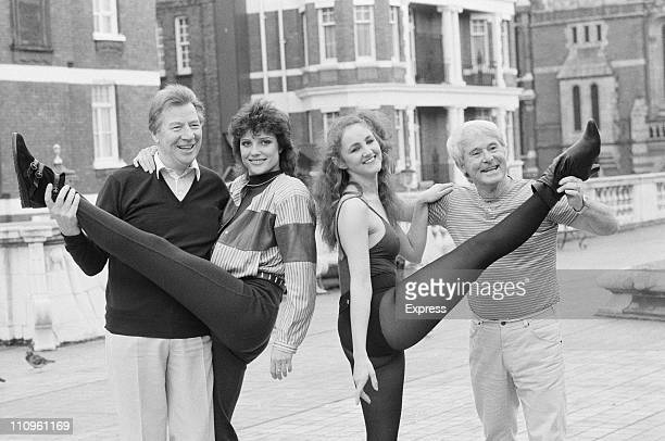 Comedians Max Bygraves and Ernie Wise with British actress Suzanne Danielle and an unknown actress 5th November 1984 Photo by Jones/Daily...