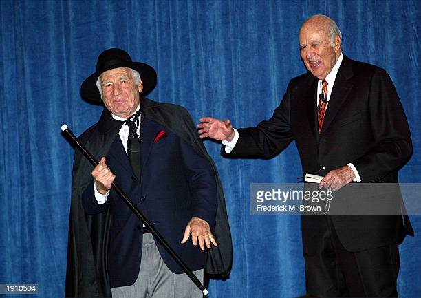 Comedians Mel Brooks and Carl Reiner perform during the A Night of Comedy fund raiser to benefit the I am Your Child Foundation at the Annex of...
