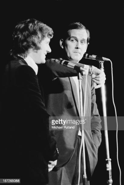 Comedians Michael Palin and John Cleese performing with Monty Python's Flying Circus at the Great Western Express Lincoln Festival Bardney...