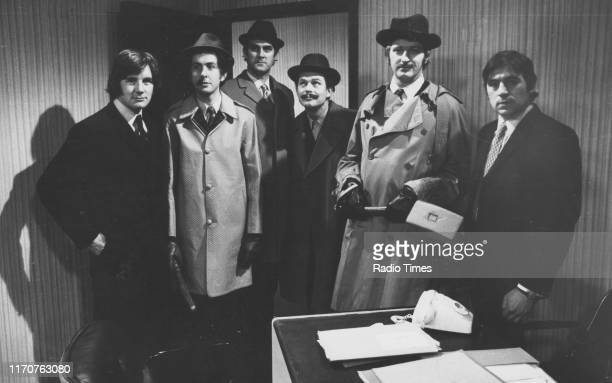 Comedians Michael Palin Eric Idle John Cleese Terry Gilliam Graham Chapman and Terry Jones in a sketch from the BBC television series 'Monty Python's...