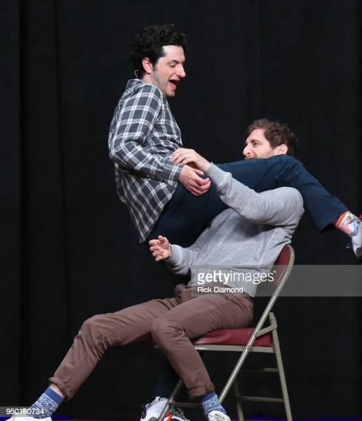 Comedians Middleditch Schwartz L/R Ben Schwartz and Thomas Middleditch performs during Nashville Comedy Festival on April 22 2018 at Ryman Auditorium...