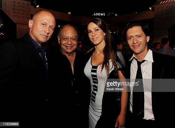 Comedians Mike Judge Richard Cheech Marin his wife Natasha Rubin and actor Clifton Collins Jr pose at the after party for the premiere of Warner Bros...