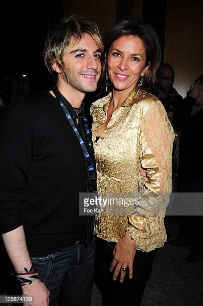 Comedians Mikelangelo Loconte and Corinne Touzet attend the Michael Gregorio Generale After Party at Le Bataclan Cafe on October 21, 2010 in Paris,...