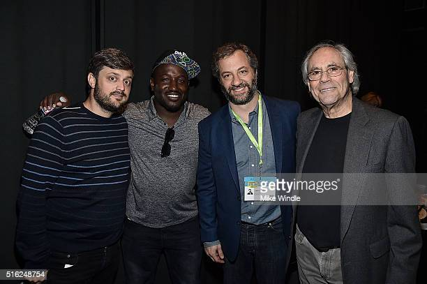 """Comedians Nate Bargatze, Hannibal Buress, Judd Apatow and Robert Klein pose backstage during """"Judd Apatow and Friends"""" at the 2016 SXSW Music, Film +..."""