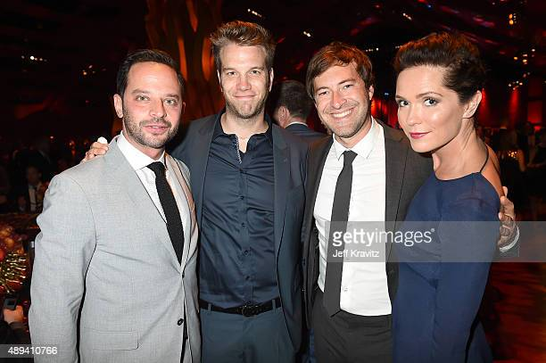 Comedians Nick Kroll and Anthony Jeselnik and filmmakers Mark Duplass and Katie Aselton attend HBO's Official 2015 Emmy After Party at The Plaza at...
