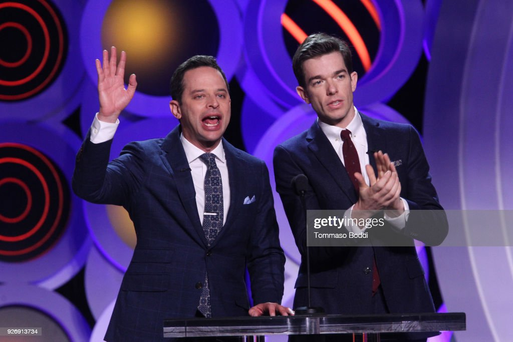 Comedians Nick Kroll and John Mulaney speak onstage during the 2018 Film Independent Spirit Awards on March 3, 2018 in Santa Monica, California.