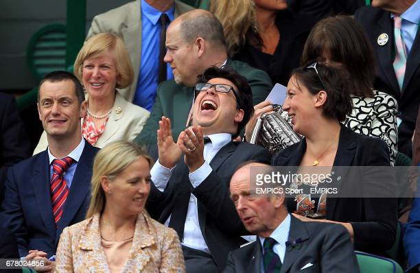 Comedian's Paul Tonkinson, Michael McIntyre and Miranda Hart in the royal box