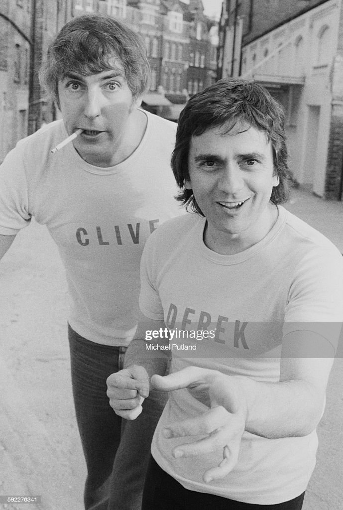 Comedians Peter Cook (1937 - 1995, left) and Dudley Moore (1935 - 2002) as 'Derek and Clive' at a press call for the album 'Derek And Clive (Live)', Hampstead, London, 20th August 1976.