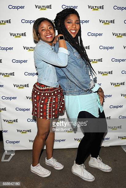 Comedians Phoebe Robinson and Jessica Williams attend the 2 Dope Queens podcast at the Vulture Festival Casper Podcast Lounge at Highline Stages on...