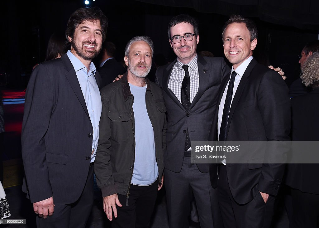 Comedians Ray Romano, Jon Stewart, John Oliver, and Seth Meyers pose backstage at the New York Comedy Festival and the Bob Woodruff Foundation's 9th Annual Stand Up For Heroes Event on November 10, 2015 in New York City.