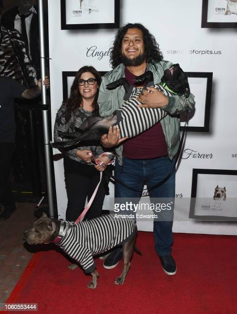 Comedians Rebecca Corry and Felipe Esparza arrive at the 8th Annual Stand Up For Pits at the Hollywood Improv Comedy Club on November 11, 2018 in Los...