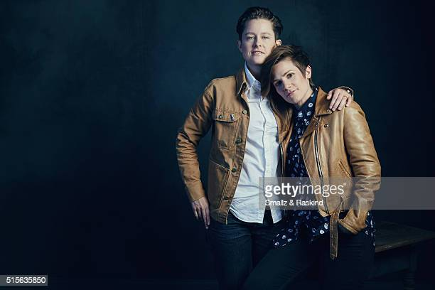 Comedians Rhea Butcher and Cameron Esposito are photographed in the Getty Images SXSW Portrait Studio powered by Samsung at the Samsung Studio on...