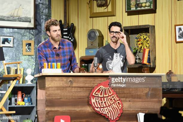 Comedians Rhett James McLaughlin and Charles Lincoln 'Link' Neal at the YouTube @ VidCon Brand Lounge at Anaheim Convention Center on June 22 2017 in...