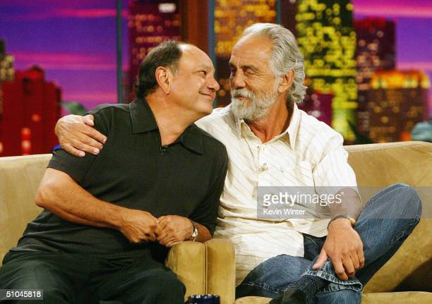 Comedians Richard Cheech Marin and Tommy Chong appear on The Tonight Show with Jay Leno at the NBC Studios on July 9 2004 in Burbank California