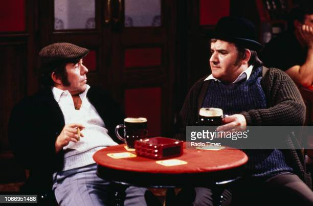 Comedians Ronnie Barker and Ronnie Corbett in a pub sketch from the television series 'The Two Ronnies', 1978.