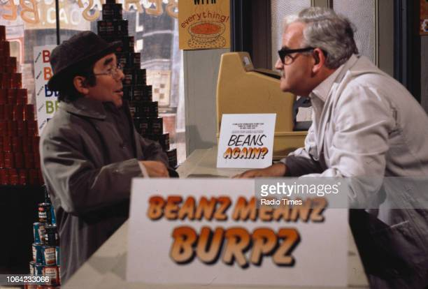 Comedians Ronnie Corbett and Ronnie Barker in a sketch from the BBC Television series 'The Two Ronnie', circa 1980.