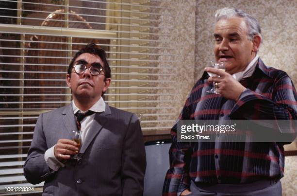 Comedians Ronnie Corbett and Ronnie Barker in a sketch from the television series 'The Two Ronnies', 1978.