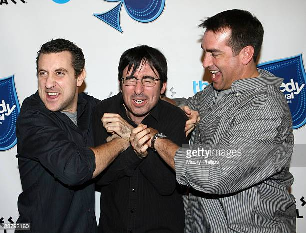 Comedians Rory Albanese John Oliver and Rob Riggle pose backstage during The Comedy Festival 2008 presented by TBS at Caesars Palace on November 22...