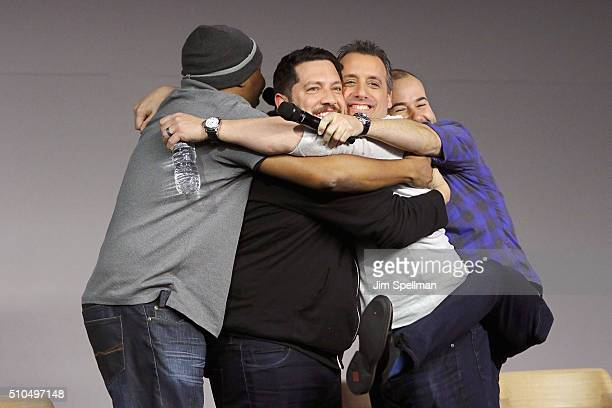 Comedians Roy Wood Jr Sal Vulcano Joe Gatto and James Murray attend Apple Store Soho Presents Meet The Impractical Jokers at Apple Store Soho on...