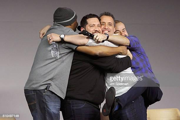 Comedians Roy Wood Jr Sal Vulcano Joe Gatto and James Murray attend Apple Store Soho Presents Meet The Impractical Jokers at Apple Store Soho on...