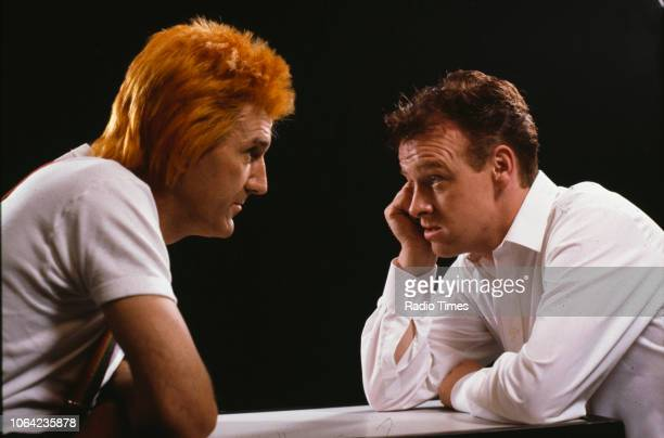 Comedians Russ Abbot and Les Dennis in a sketch from the BBC Television series 'The Russ Abbot Show' 1989