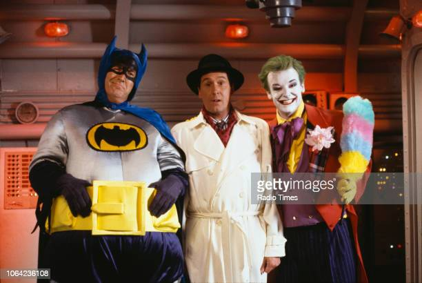Comedians Russ Abbot and Les Dennis in a superhero sketch from the Christmas special of BBC Television series 'The Russ Abbot Show' August 25th 1989